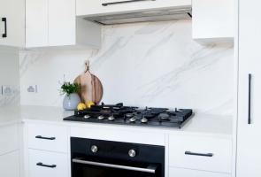 Modern White Kitchen Black Handles