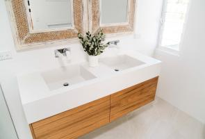 Bathroom Timber Veneer Vanity Stone Bench Top