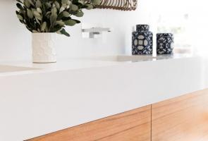 Timber Veneer & Crystalite Vanity