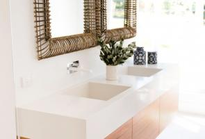 Ensuite Bathroom Timber Veneer Vanity White Stone Bench Top