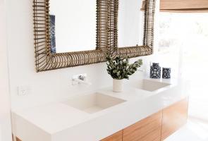 Ensuite Bathroom Timber Veneer Vanity Stone Bench Top