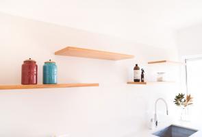 Laundry Timber Veneer Shelves Stone Splash Back