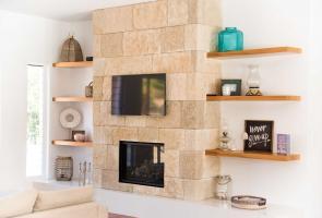 Timber Veneer Shelving Living Room