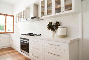 White Shaker Kitchen Timber Veneer Shelves