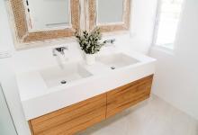 Modern Hampton Home Blackwood Veneer & Crystalite Stone Bench Top