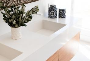 Ensuite Bathroom Timber Veneer Vanity Drawers White Stone Bench Top