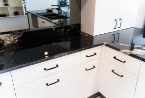 Kitchen Black Handles Black Granite Bench Top