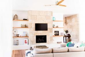 Timber Veneer Shelving Living Room Entry